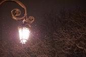 street lantern in the winter public park
