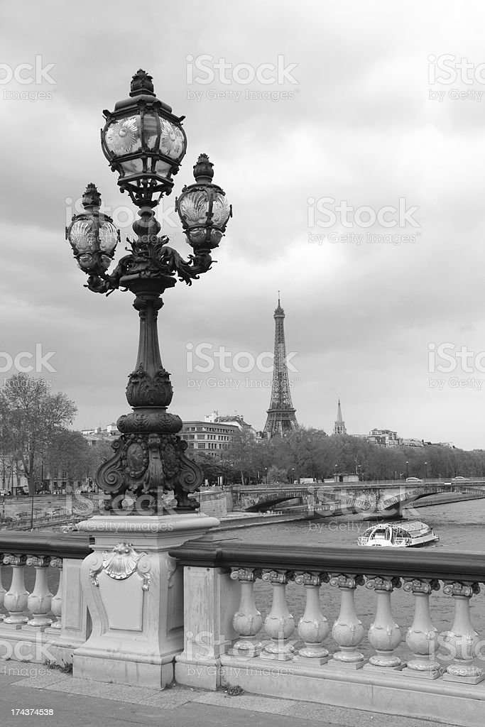 Street lantern on the Alexandre III Bridge stock photo