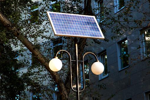 street lantern with solar panel battery