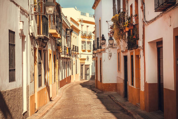 Street lanterns and doors to small houses of Andalucia, Spain CORDOBA, SPAINE - NOV 18: Street lanterns and doors to small houses of Andalucia on November 18, 2018. Population of Cordoba is near 350,000 cordoba spain stock pictures, royalty-free photos & images