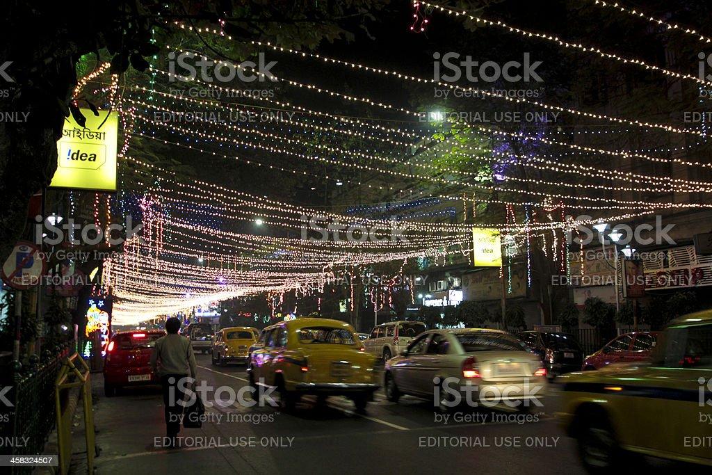 Street life in Kolkata at night royalty-free stock photo