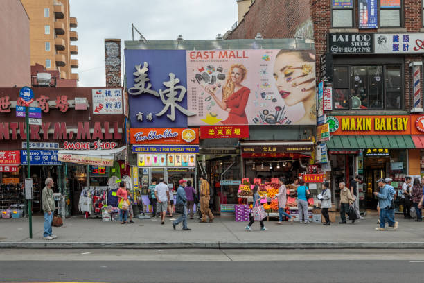 Street life in Main Street in Flushing stock photo