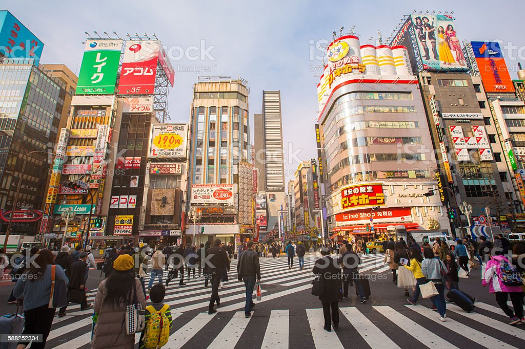 Street life in Shinjuku stock photo