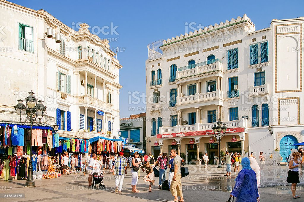 Street life in Tunis. Square in Medina, stock photo