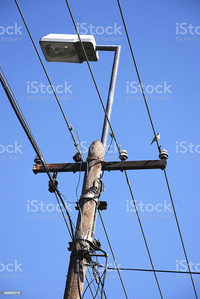 street light and aerial lead power cables royalty-free stock photo