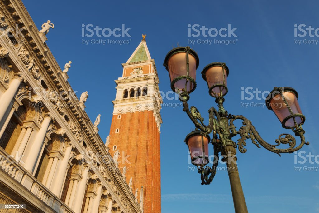 Street Light and St. Mark's Bell Tower, Venice, Italy stock photo