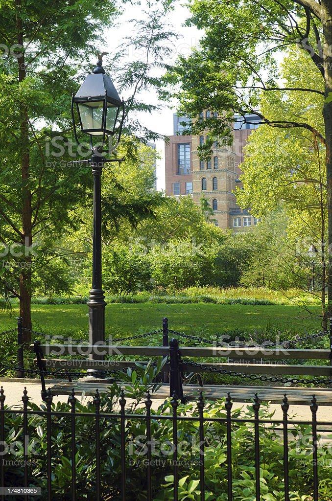 Street light at Washington Square Park in Manhattan stock photo