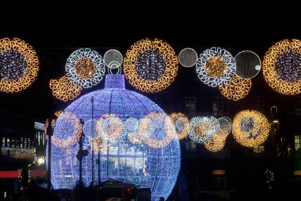 Street light Christmas decorations, large Christmas tree ball , Vigo, Galicia, Spain. stock photo