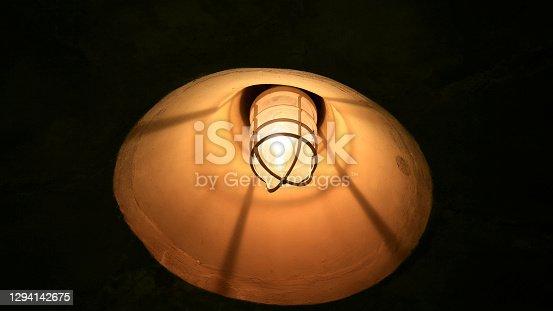 salvador, bahia, brazil - december 23, 2020: street lighting lamp is seen on a pedestrian walkway in the city of Salvador.