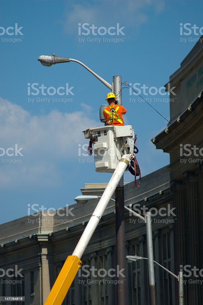 Street light maintenance stock photo