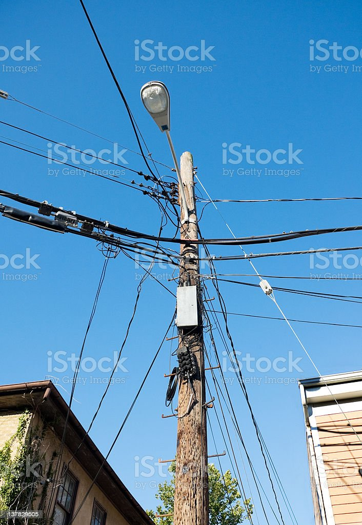 Street Light On Telephone Pole With Wires Stock Photo & More ...