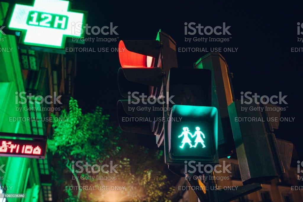 street light showing a lesbian couple stock photo