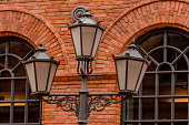 Street Light with background of Building with Red Brick in Lodz Manufaktura