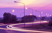 Electricity that illuminates the streets at night in the Thai countryside