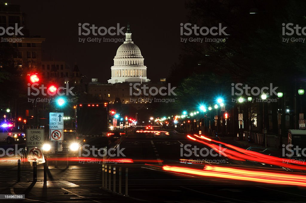 Street lights and US Capitol Building at night royalty-free stock photo