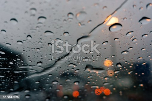 1054750504 istock photo street lights at evening on a rainy day, colorful bokeh 877309150