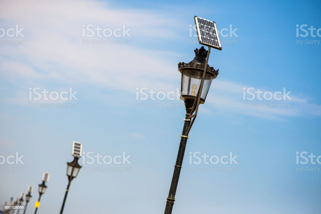 Street Lights With Solar Panels Stock Photo & More Pictures
