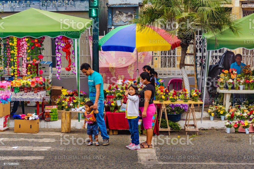 Street Market at Guayas District, Ecuador stock photo