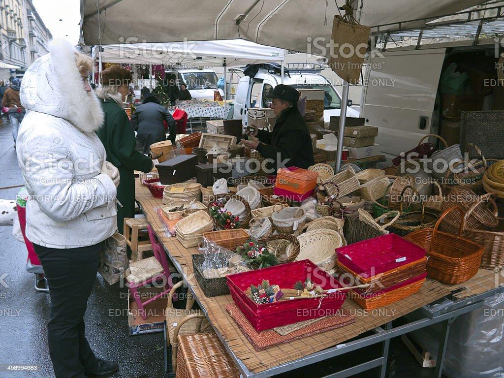 street market at the Duomo square in Milan, Italy royalty-free stock photo