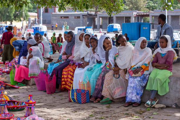 Street market in center of Aksum, Ethiopia Africa stock photo