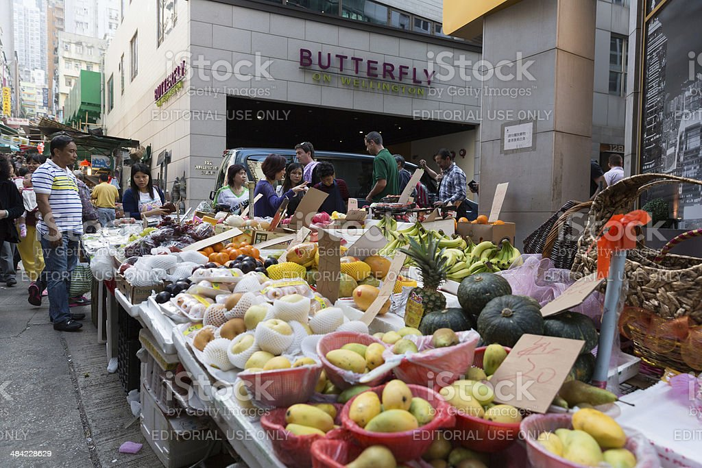 Street Market in Central District, Hong Kong stock photo