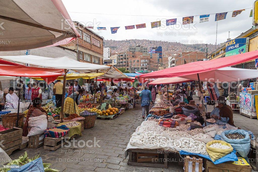 Street market in La Paz, Bolivia stock photo