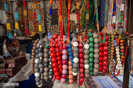 Street market in South Africa.Handmade colorful beads bracelets, bangles. Craftsmanship