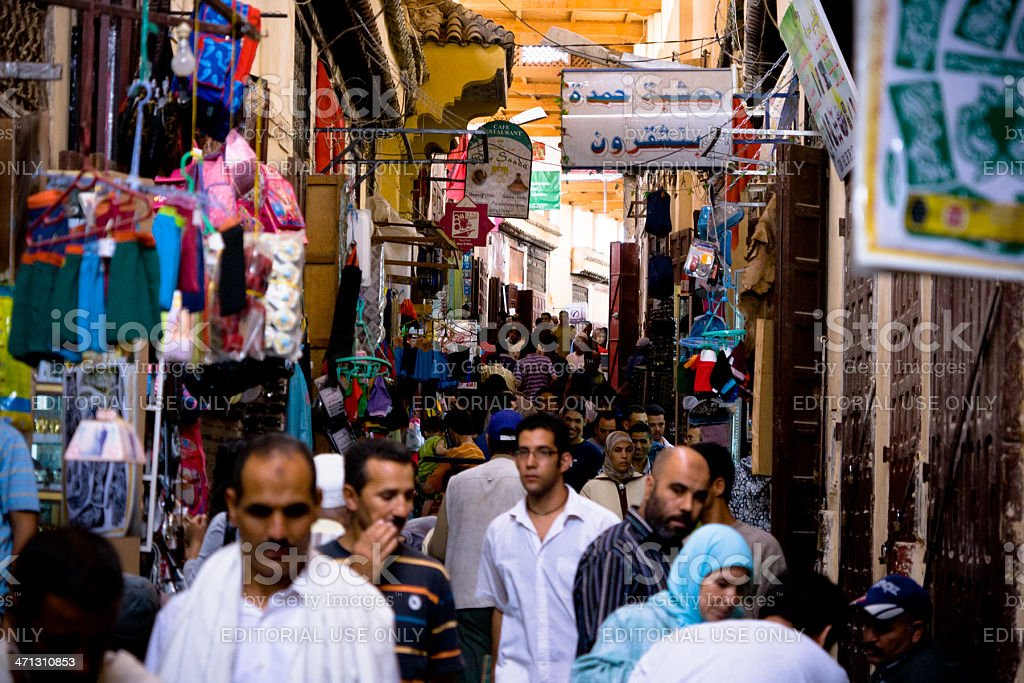 Street Market in the Medina of Fez el Bali, Morocco royalty-free stock photo