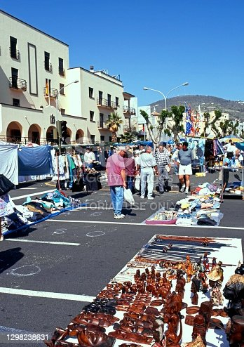 People walking around the street market, Santa Cruz, Tenerife, Canary Islands, Tenerife, Spain.