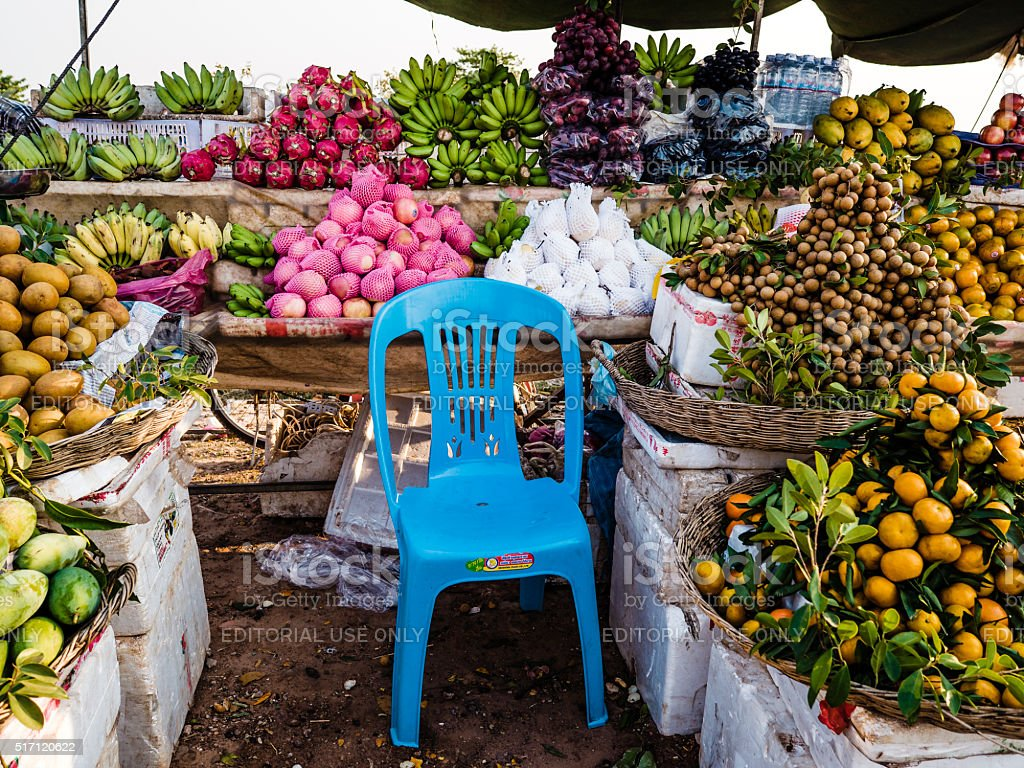 Street market Siem Reap Cambodia stock photo