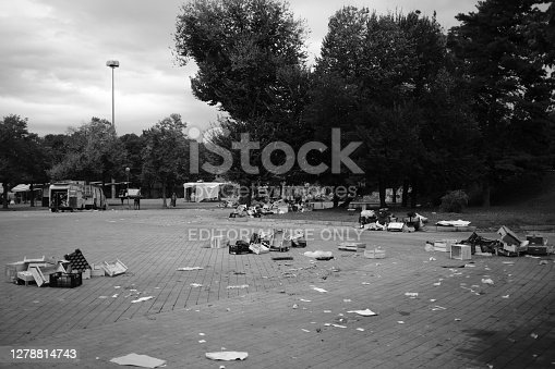 Legnano, Italy - October 06, 2020: Street Market squares at the end of the day