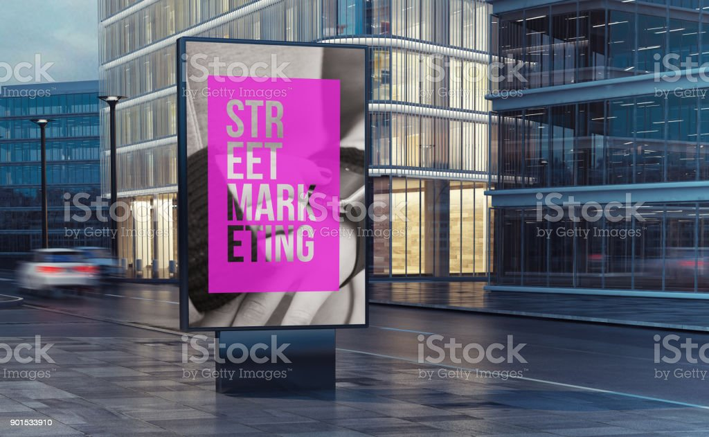 street marketing billboard on the street 3d rendering