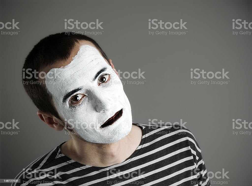 Street mime man with no words stock photo