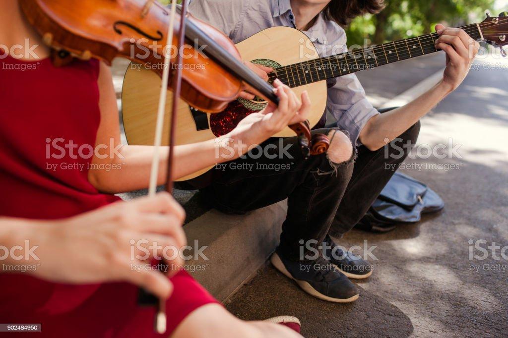 Straßenmusik Duo Leistung Romantik Freiheit – Foto