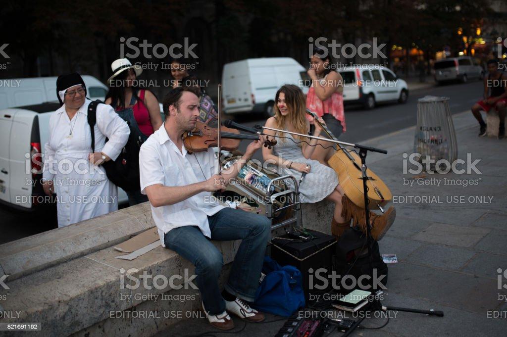 Street music in Paris stock photo