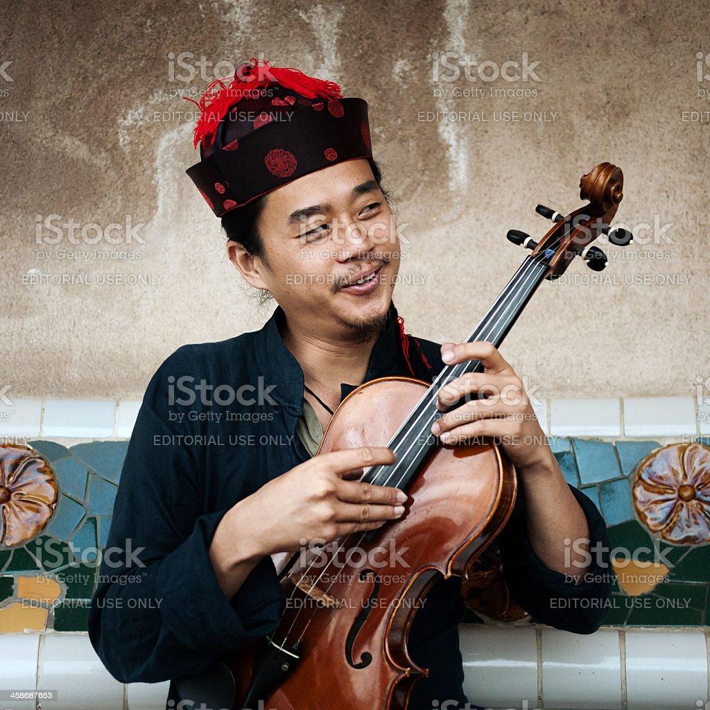 Street musician in Barcelona. royalty-free stock photo