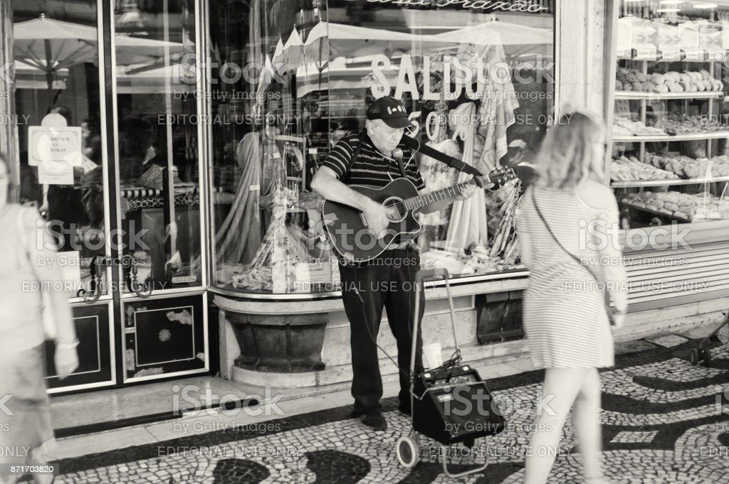 Street Musician in Lisbon stock photo