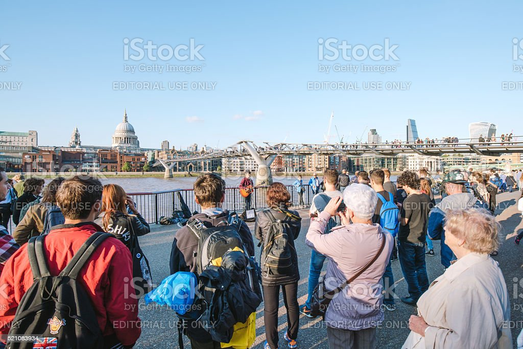 Street musician in London, UK stock photo