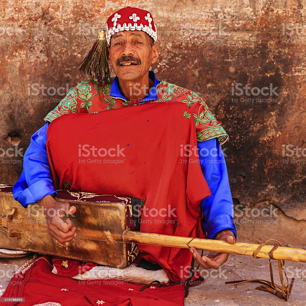 Street musician in Marrakesh, Morocco stock photo