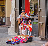 Valencia, Spain - July 25, 2017: View of Valencia city, Spain.Street musician playing gitar