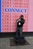 Street musician on O'Connell str. Dublin April 2019, Ireland
