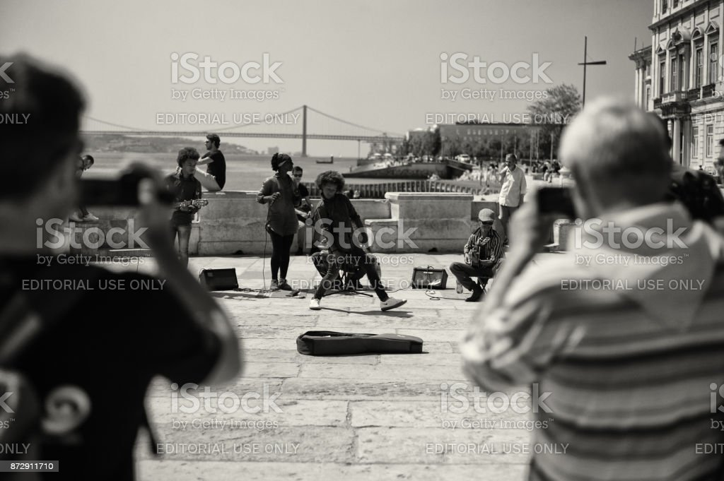 Street Musicians and Dancer in Lisbon stock photo