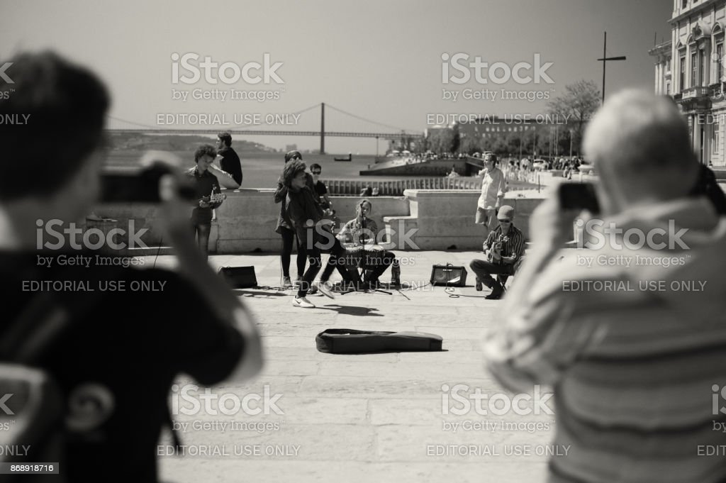Street Musicians Band in Lisbon stock photo