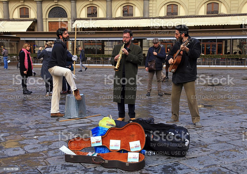 street musicians band perform in the street at Florence stock photo