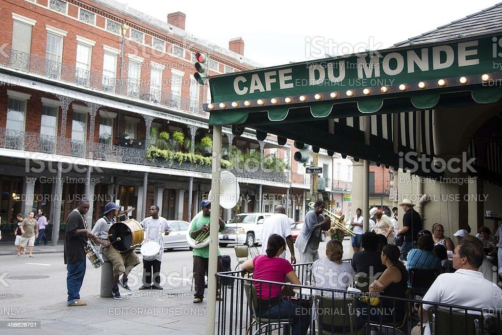 Street Musicians Busking Outside Cafe Du Monde- New Orleans stock photo