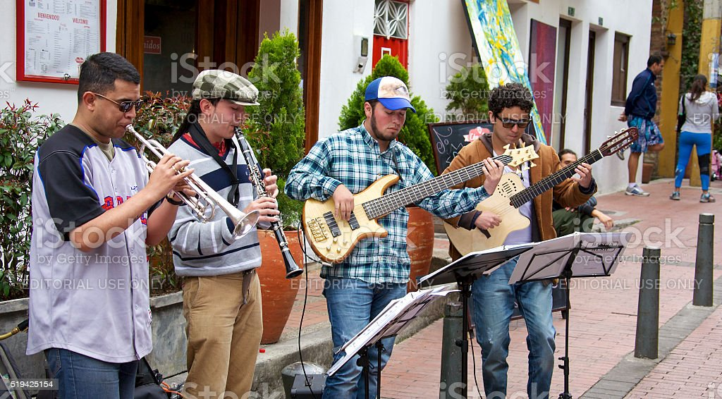 Street musicians in Bogota Colombia stock photo
