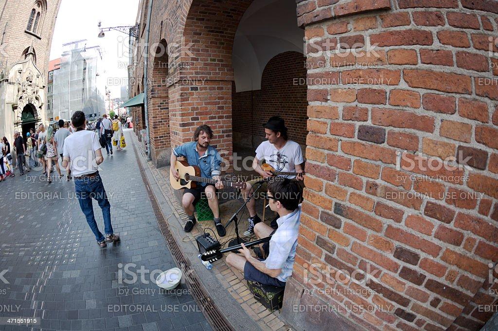 Street musicians in Copenhagen royalty-free stock photo