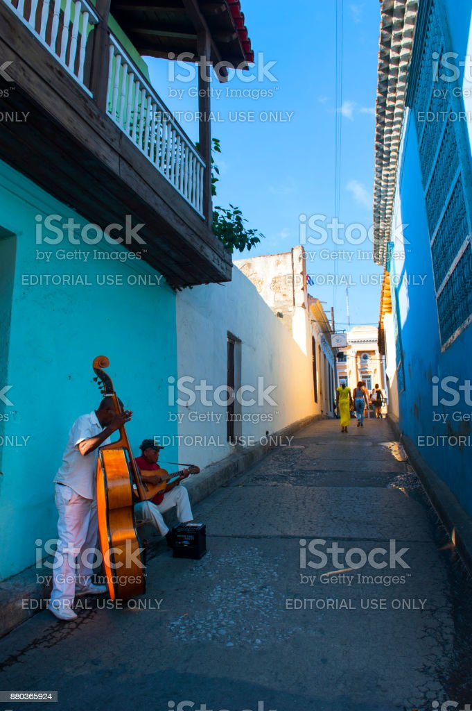 Street musicians in Cuba stock photo