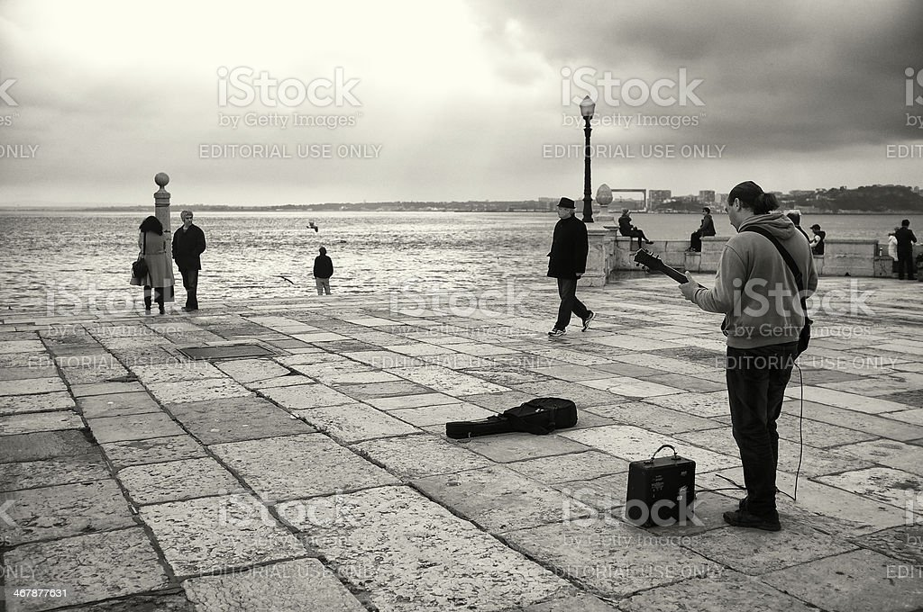 Street Musicians in Lisbon royalty-free stock photo