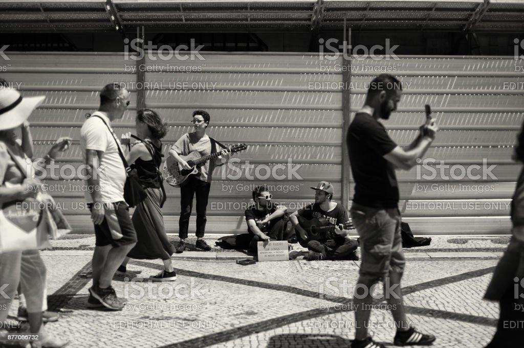 Street Musicians in Lisbon stock photo